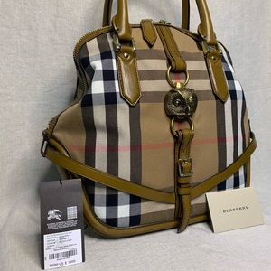 Burberry Orchard Horseferry Check Leather Sachel